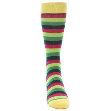 Image of Greens Pink Stripe Men's Dress Socks (front-04)
