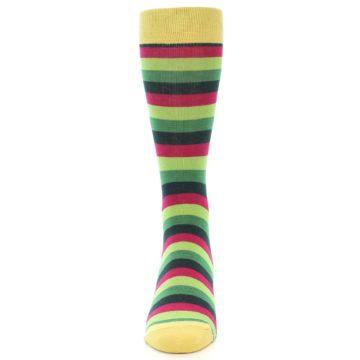 Image of Greens Pink Stripe Men's Dress Socks (front-05)