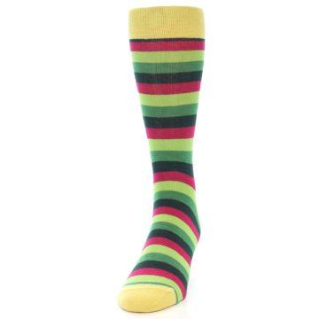 Image of Greens Pink Stripe Men's Dress Socks (side-2-front-06)
