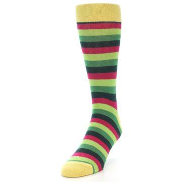 Image of Greens Pink Stripe Men's Dress Socks (side-2-front-07)