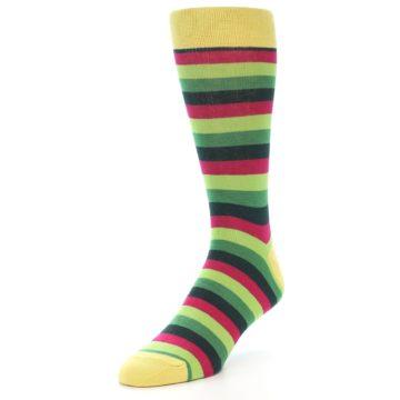 Image of Greens Pink Stripe Men's Dress Socks (side-2-front-08)