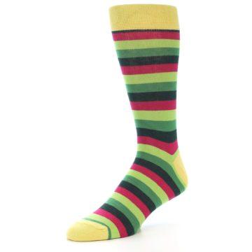 Image of Greens Pink Stripe Men's Dress Socks (side-2-09)