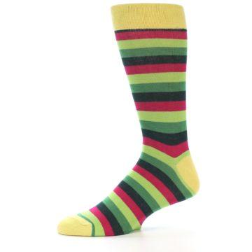 Image of Greens Pink Stripe Men's Dress Socks (side-2-11)