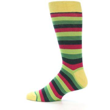 Image of Greens Pink Stripe Men's Dress Socks (side-2-13)