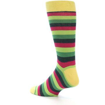 Image of Greens Pink Stripe Men's Dress Socks (side-2-back-15)
