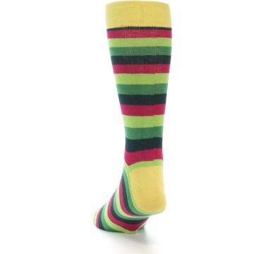 Image of Greens Pink Stripe Men's Dress Socks (back-17)