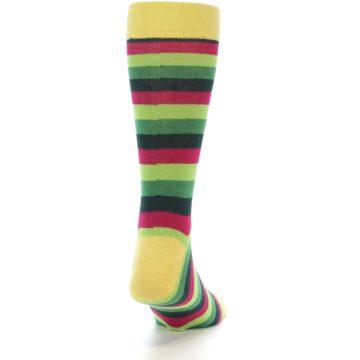 Image of Greens Pink Stripe Men's Dress Socks (side-1-back-20)