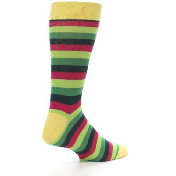Image of Greens Pink Stripe Men's Dress Socks (side-1-23)
