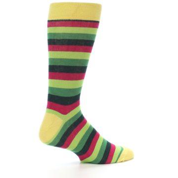 Image of Greens Pink Stripe Men's Dress Socks (side-1-24)