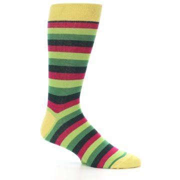 Image of Greens Pink Stripe Men's Dress Socks (side-1-26)