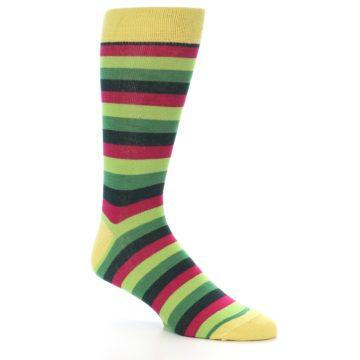 Image of Greens Pink Stripe Men's Dress Socks (side-1-27)