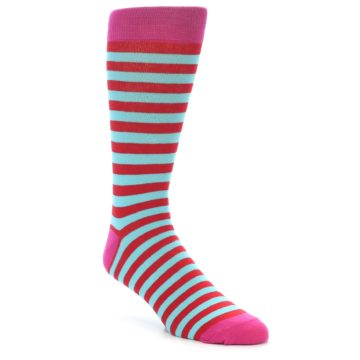 Image of Turquoise Blue Red Stripe Men's Dress Socks (side-1-front-01)