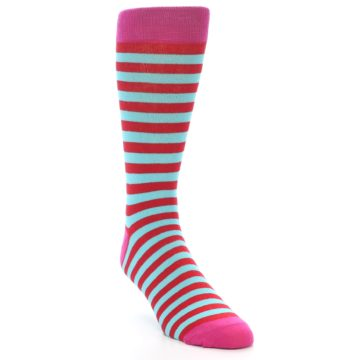 Image of Turquoise Blue Red Stripe Men's Dress Socks (side-1-front-02)