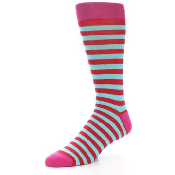 Image of Turquoise Blue Red Stripe Men's Dress Socks (side-2-09)