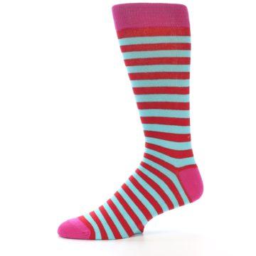 Image of Turquoise Blue Red Stripe Men's Dress Socks (side-2-11)