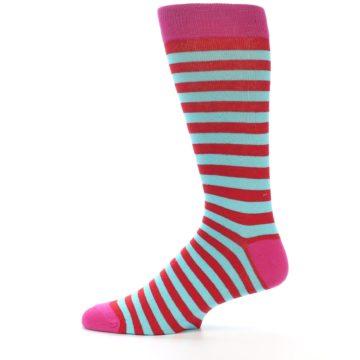 Image of Turquoise Blue Red Stripe Men's Dress Socks (side-2-12)