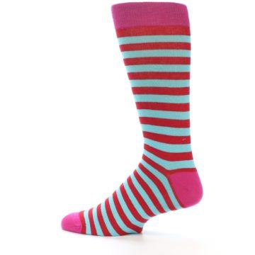 Image of Turquoise Blue Red Stripe Men's Dress Socks (side-2-13)