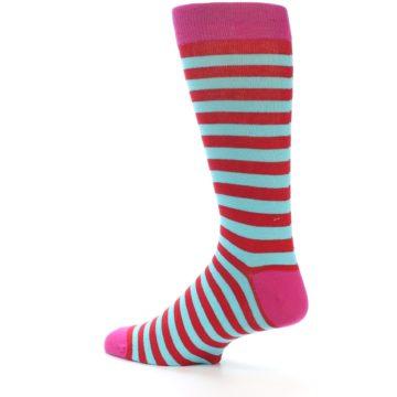Image of Turquoise Blue Red Stripe Men's Dress Socks (side-2-back-14)