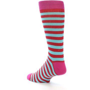Image of Turquoise Blue Red Stripe Men's Dress Socks (side-2-back-15)