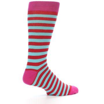 Image of Turquoise Blue Red Stripe Men's Dress Socks (side-1-24)