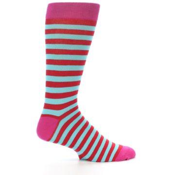 Image of Turquoise Blue Red Stripe Men's Dress Socks (side-1-25)