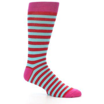 Image of Turquoise Blue Red Stripe Men's Dress Socks (side-1-26)