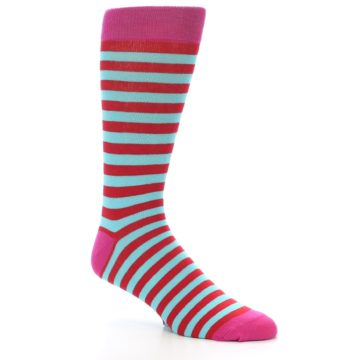 Image of Turquoise Blue Red Stripe Men's Dress Socks (side-1-27)