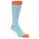 Image of Light Blue Orange Polka Dot Men's Dress Socks (side-1-front-01)