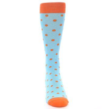 Image of Light Blue Orange Polka Dot Men's Dress Socks (front-04)