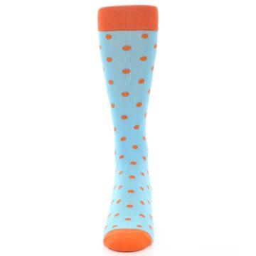 Image of Light Blue Orange Polka Dot Men's Dress Socks (front-05)