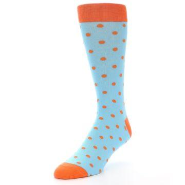 Image of Light Blue Orange Polka Dot Men's Dress Socks (side-2-front-08)