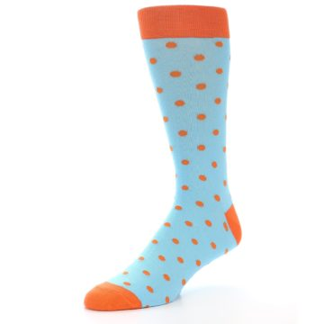 Image of Light Blue Orange Polka Dot Men's Dress Socks (side-2-09)