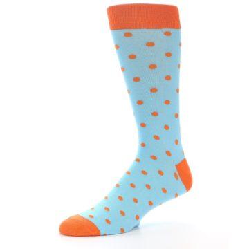 Image of Light Blue Orange Polka Dot Men's Dress Socks (side-2-10)