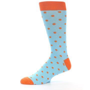 Image of Light Blue Orange Polka Dot Men's Dress Socks (side-2-11)