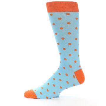 Image of Light Blue Orange Polka Dot Men's Dress Socks (side-2-12)