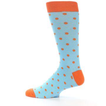 Image of Light Blue Orange Polka Dot Men's Dress Socks (side-2-13)