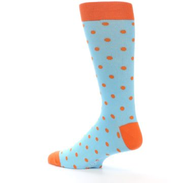 Image of Light Blue Orange Polka Dot Men's Dress Socks (side-2-back-14)
