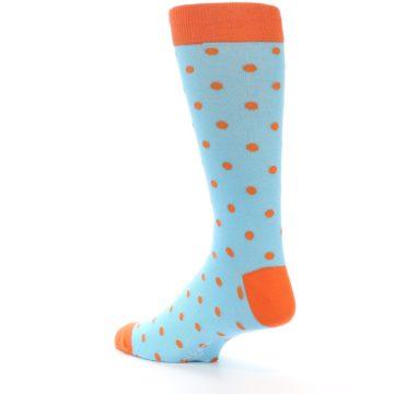 Image of Light Blue Orange Polka Dot Men's Dress Socks (side-2-back-15)
