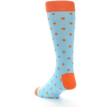 Image of Light Blue Orange Polka Dot Men's Dress Socks (side-2-back-16)