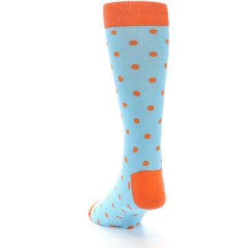 Image of Light Blue Orange Polka Dot Men's Dress Socks (back-17)
