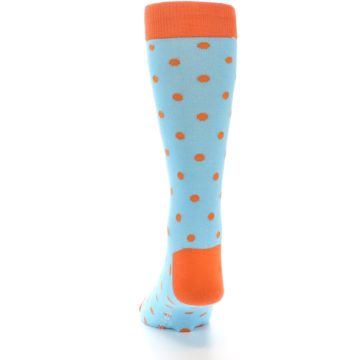 Image of Light Blue Orange Polka Dot Men's Dress Socks (back-18)