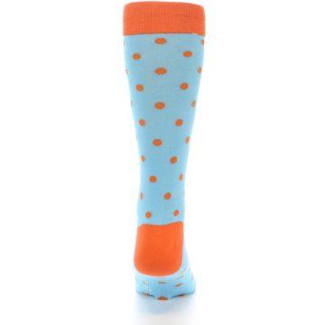 Image of Light Blue Orange Polka Dot Men's Dress Socks (back-19)
