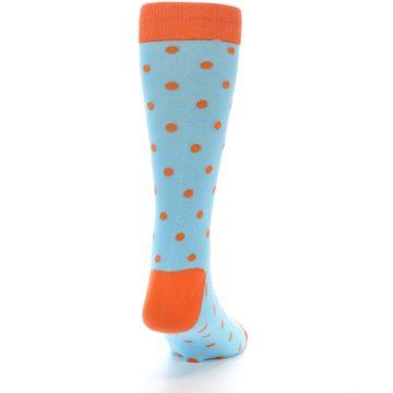 Image of Light Blue Orange Polka Dot Men's Dress Socks (side-1-back-20)