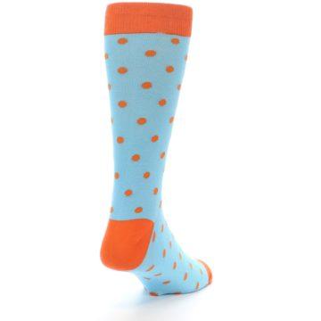 Image of Light Blue Orange Polka Dot Men's Dress Socks (side-1-back-21)