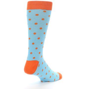 Image of Light Blue Orange Polka Dot Men's Dress Socks (side-1-back-22)