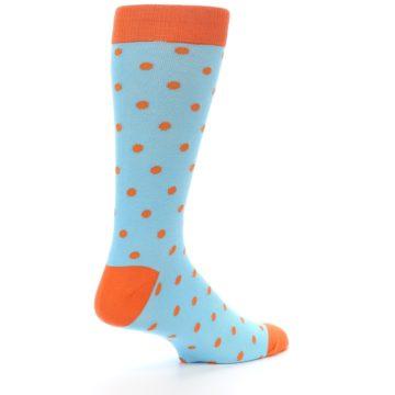 Image of Light Blue Orange Polka Dot Men's Dress Socks (side-1-23)
