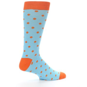Image of Light Blue Orange Polka Dot Men's Dress Socks (side-1-24)
