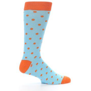 Image of Light Blue Orange Polka Dot Men's Dress Socks (side-1-25)
