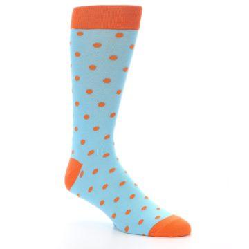 Image of Light Blue Orange Polka Dot Men's Dress Socks (side-1-27)