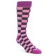 Image of Pink Purple Checkered Men's Dress Socks (side-1-front-01)